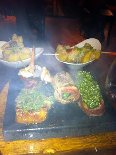 Stitch and Bear - Grilling meat on the hot stone at Rustic Dublin