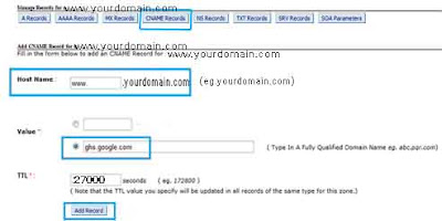Tutorial how to map Domain name bought from BigRock with Blogger.