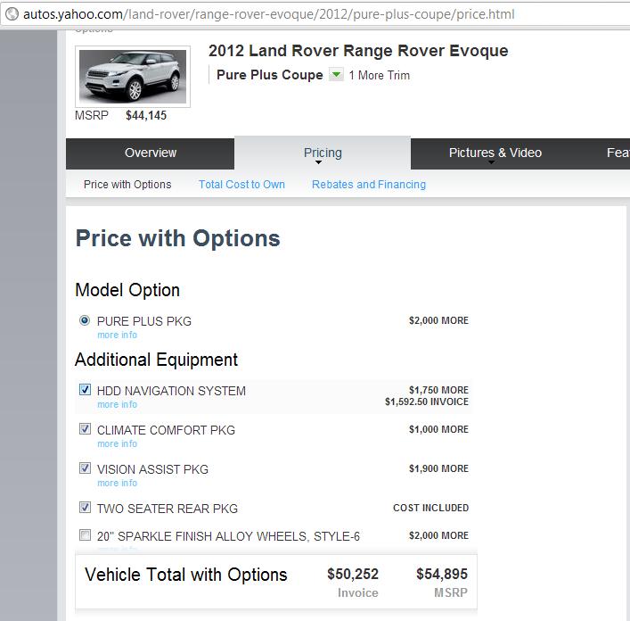 Range Rover Evoque cost