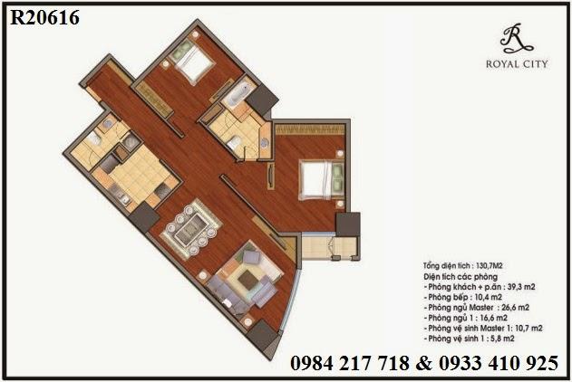 Mua bán chung cư Royal City, căn hộ R20616 loại 2 phòng ngủ diện tích 130.7 m2