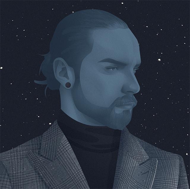 self portrait of illustrator jack hughes