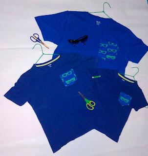 Camisetas azules personalizadas con bolsillos DIY