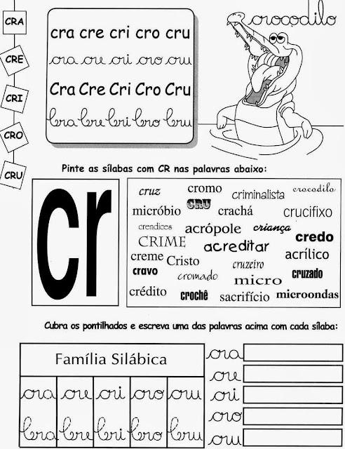 crocodilo,sílabas,Atividades com CR.atividades para imprimir,alfabetização,anos iniciais,alfabeto,1º ano