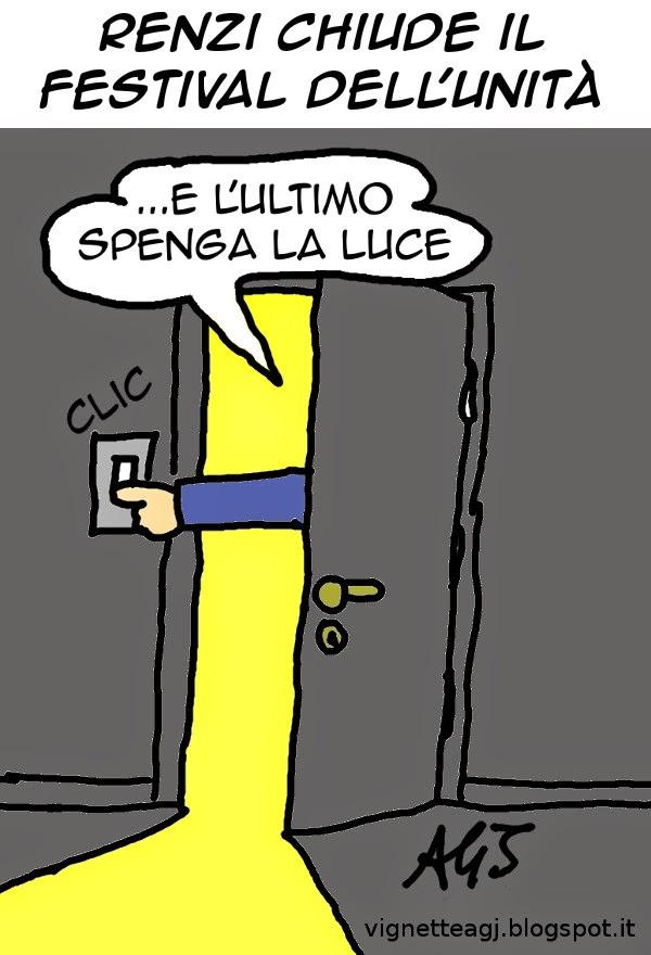 festival dell'Unità, Renzi, PD, satira , vignetta