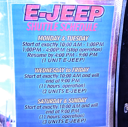 schedules of e-jeepney to and from embarcadero de legazpi city