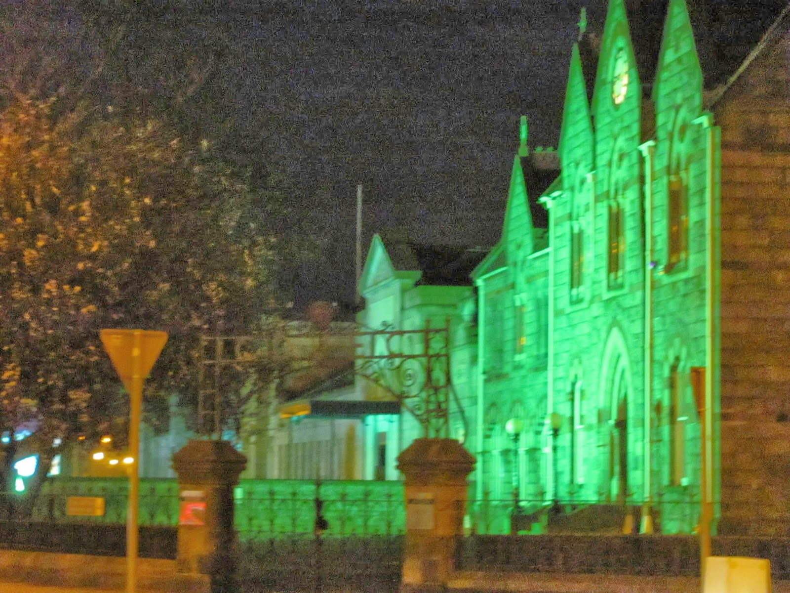 Royal Dublin Society lit green on St. Patrick's Day