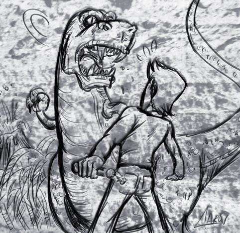 Velasco se cree un Yedai frente a un T-Rex