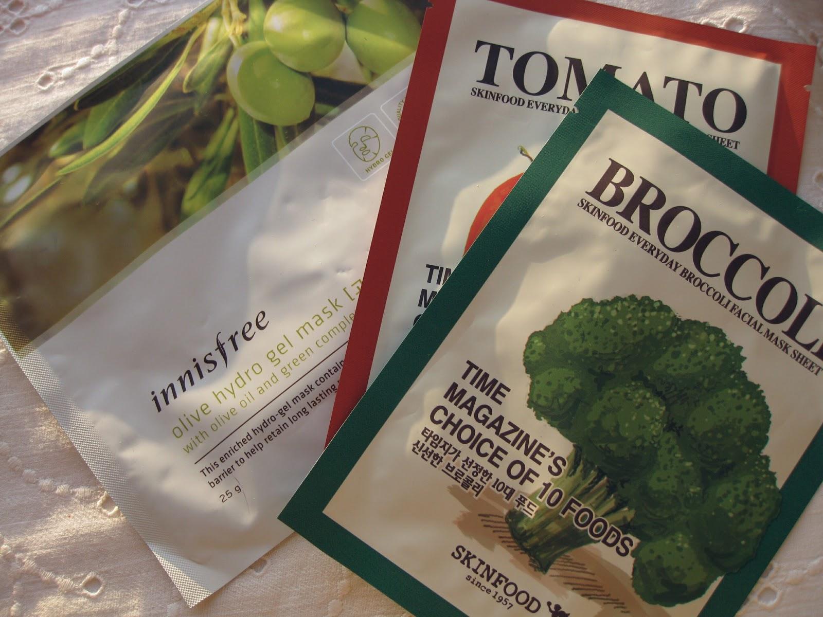 SKINFOOD Everyday Broccoli Facial Mask Sheet, INNISFREE Hydro Gel Mask