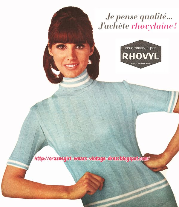 Rhovylaine ! 1966 mod knit top sweater jumper 60s 1960