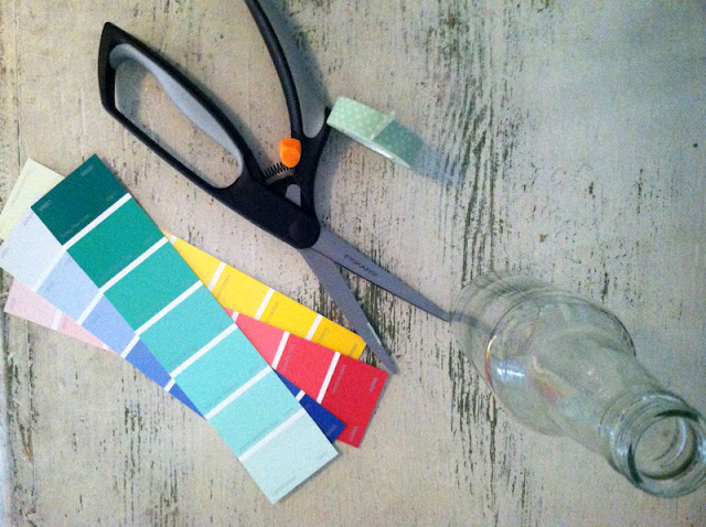 DIY paint chip bottle wedding vases by oh lovely day | www.oh-lovely-day.com