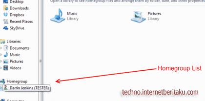 Windows 7 homegroup list