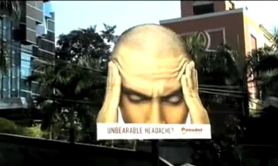 Panadol Extra men's head billboard