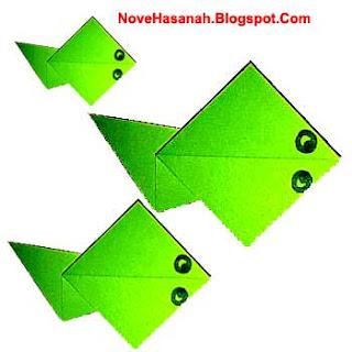 cara atau langkah membuat origami untuk anak-anak berbentuk berudu atau kecebong katak yang lucu