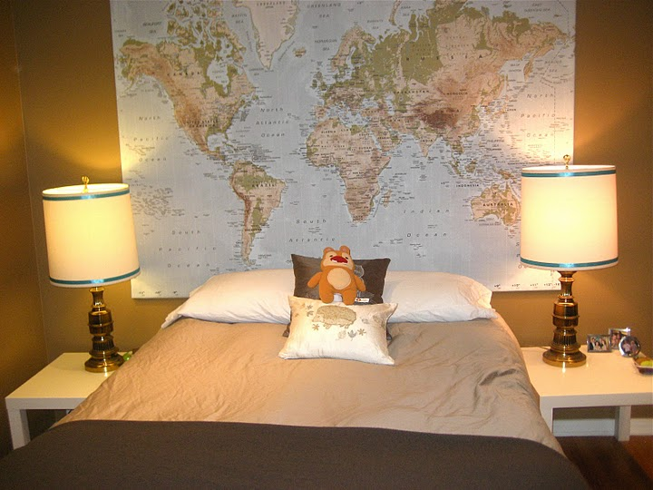 Babys room the tobacco colored walls also fondly referred to as baby poop brown turquoise drapes small chinese paintings and large world map from ikea will gumiabroncs Images