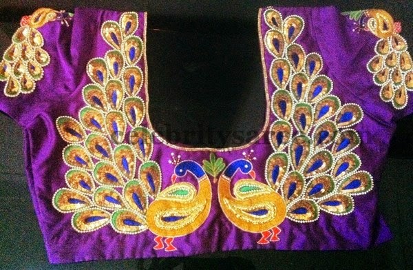 Simple Blouses With Peacock Work  Saree Blouse Patterns
