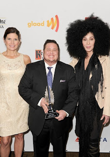 Mary Bono Mack, Chaz Bono and Cher backstage at GLAAD Awards