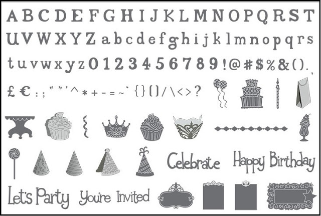 Sizzix eclips Cartridge - Birthday Party &amp; Fun Times Alphabet