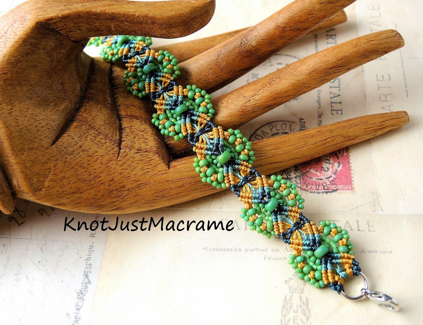 Hydrangea micro macrame bracelet by Sherri Stokey.