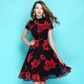 New 2017 Short Sleeve Red Flower Black Chiffon Flare Dress