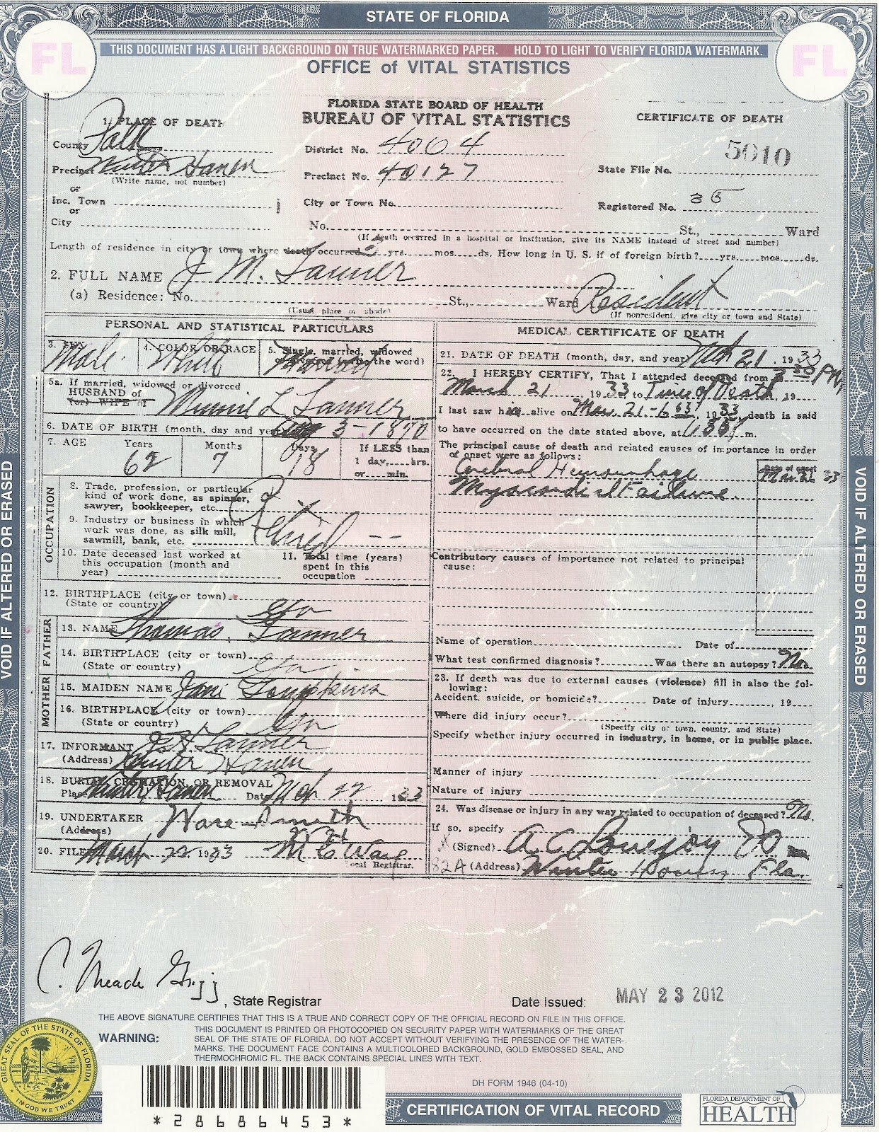 Salabencher death certificates for various family members from john m tanner aiddatafo Choice Image