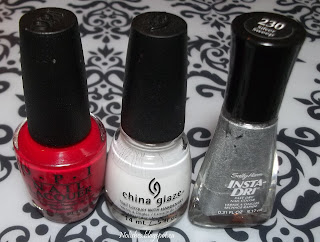 OPI 'Color so Hot it Berns', China Glaze 'White on White', and Sally Hansen 'Silver Sweep'