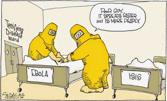 Signe Wilkinson: Ebola cf. ISIS.