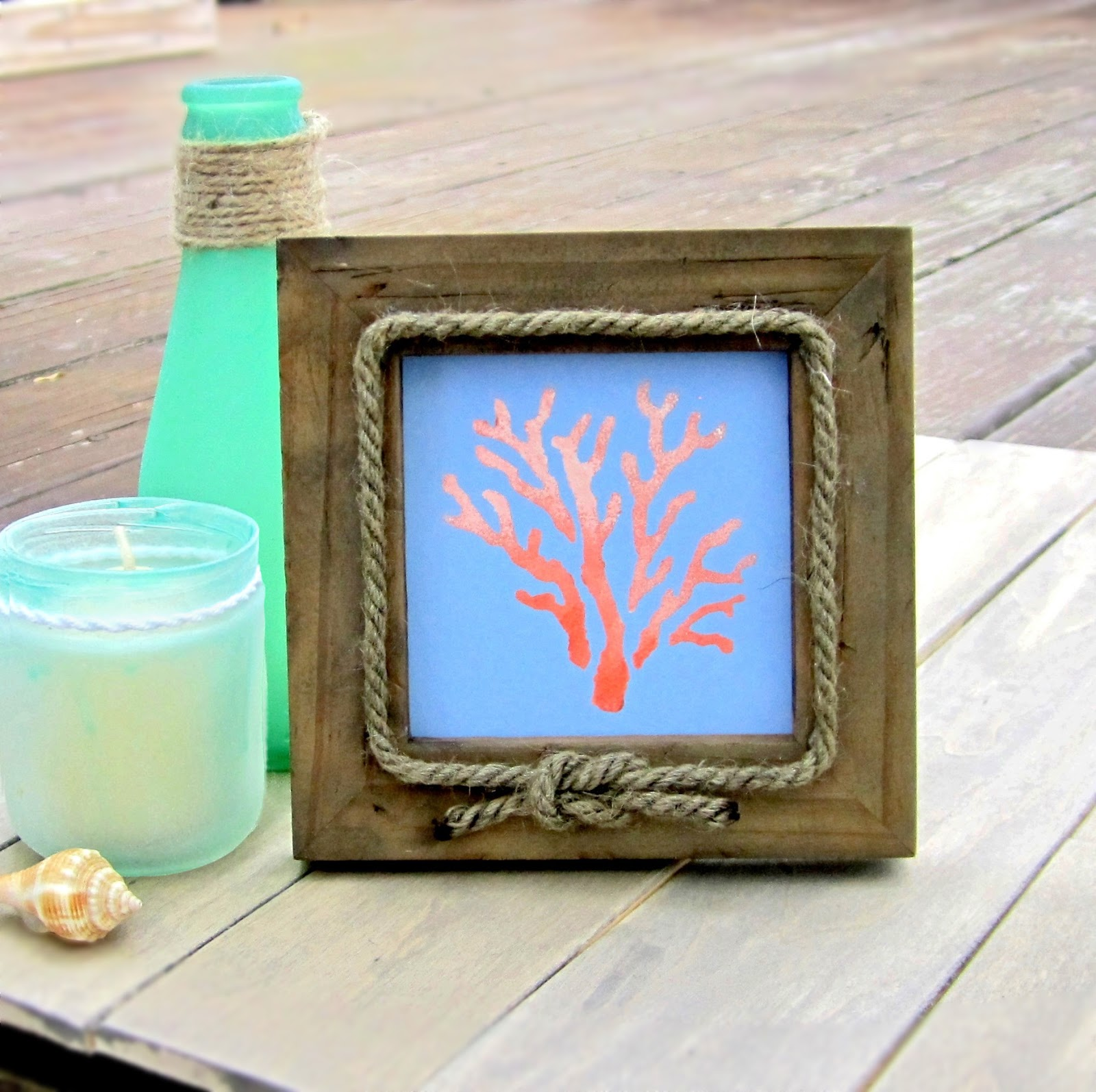 next were going to magically turn the bottles into frosted beach glass one of my favorite products to accomplish this is from martha stewart crafts - Nautical Picture Frame