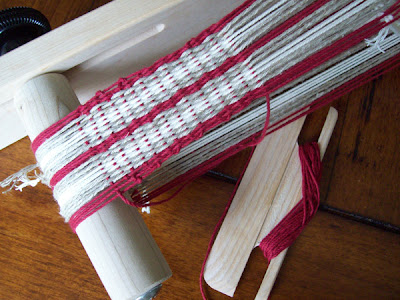 Allison Holland's first attempt at weaving on an inkle loom