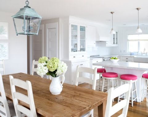 Beachy Dining Room. Blue and white living room and dining room ...