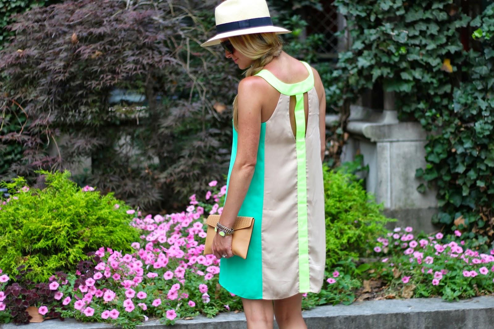 oh retro dress, dejavu boutique, neon dress, panama hat, loren hope