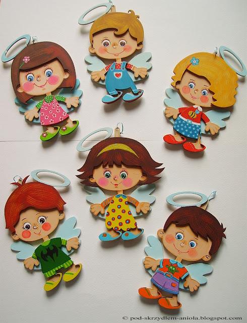 malowane drewniane aniołki dziewczynki chłopczyki personalizowane