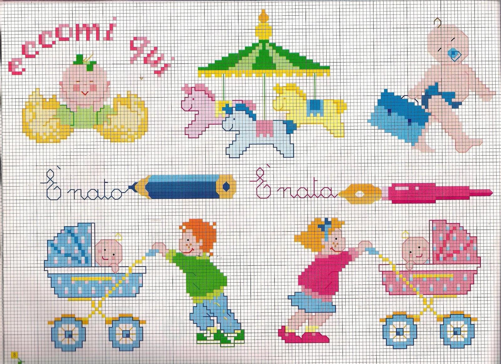 Grande raccolta di schemi e grafici per punto croce free for Punto croce bambini nascita