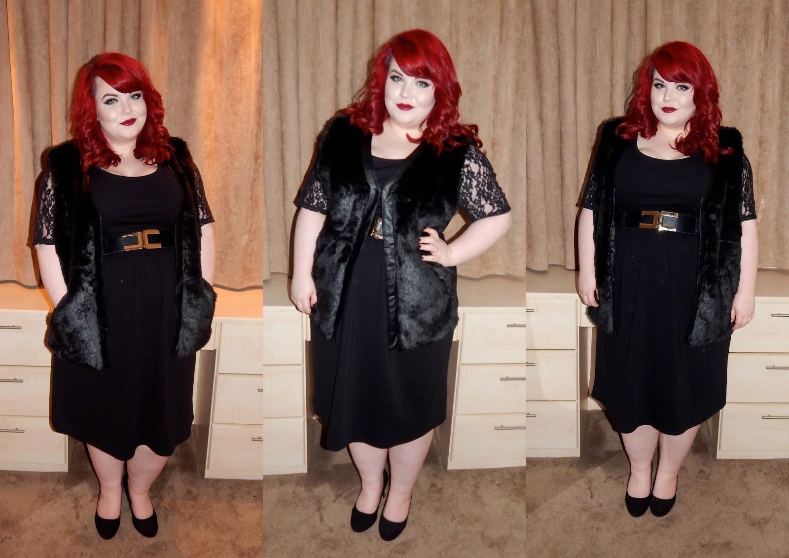 The Curve's Faux- Fur Panel Gilet, mssvg junarose lace dress, plus size blogger, georgina grogan