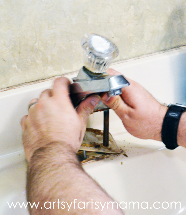 How to Install a Bathroom Faucet at artsyfartsymama.com #Moen