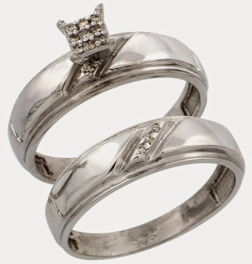 Cheap White Gold Wedding Rings Sets for His and Her Design Pictures HD
