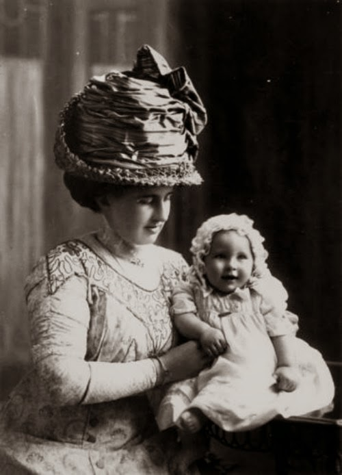 Vintage photo of woman and baby