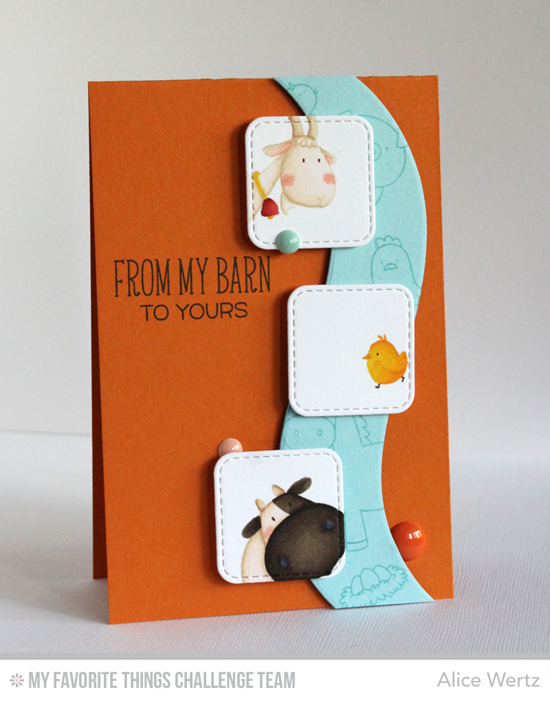 From My Barn Card by Alice Wertz featuring the Birdie Brown The Whole Herd stamp set and Ride the Wave Die-namics
