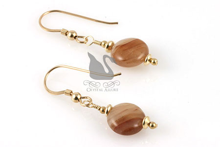 Pumpkin Drops Carnelian Gemstone Earrings (E210)