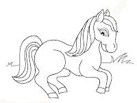 Halaman Mewarnai Gambar Anak Kuda Yang Lucu