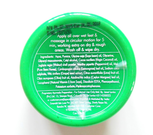 Spa Ceylon Green Mint Cooling Foot Scrub Review, Price, Details