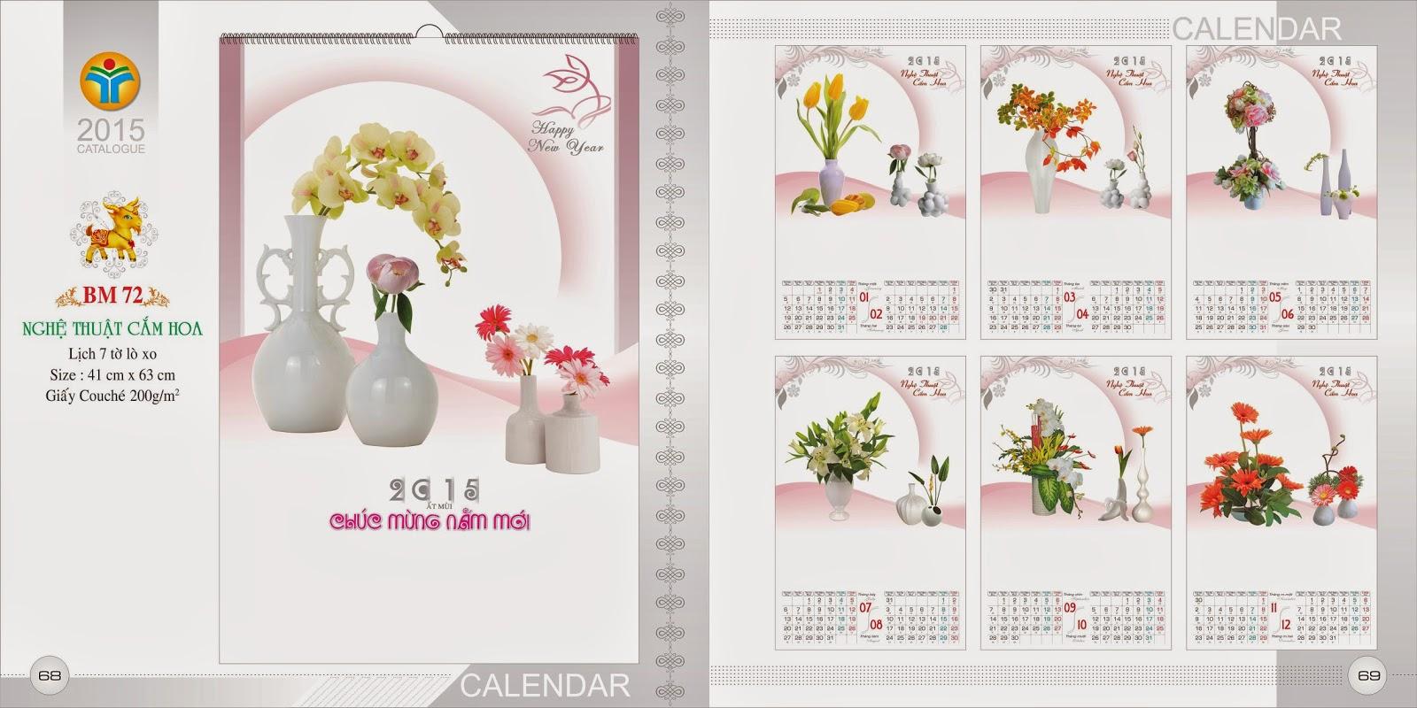 Lịch treo tường 7 Tờ Lò Xo - Nghệ thuật Cắm hoa