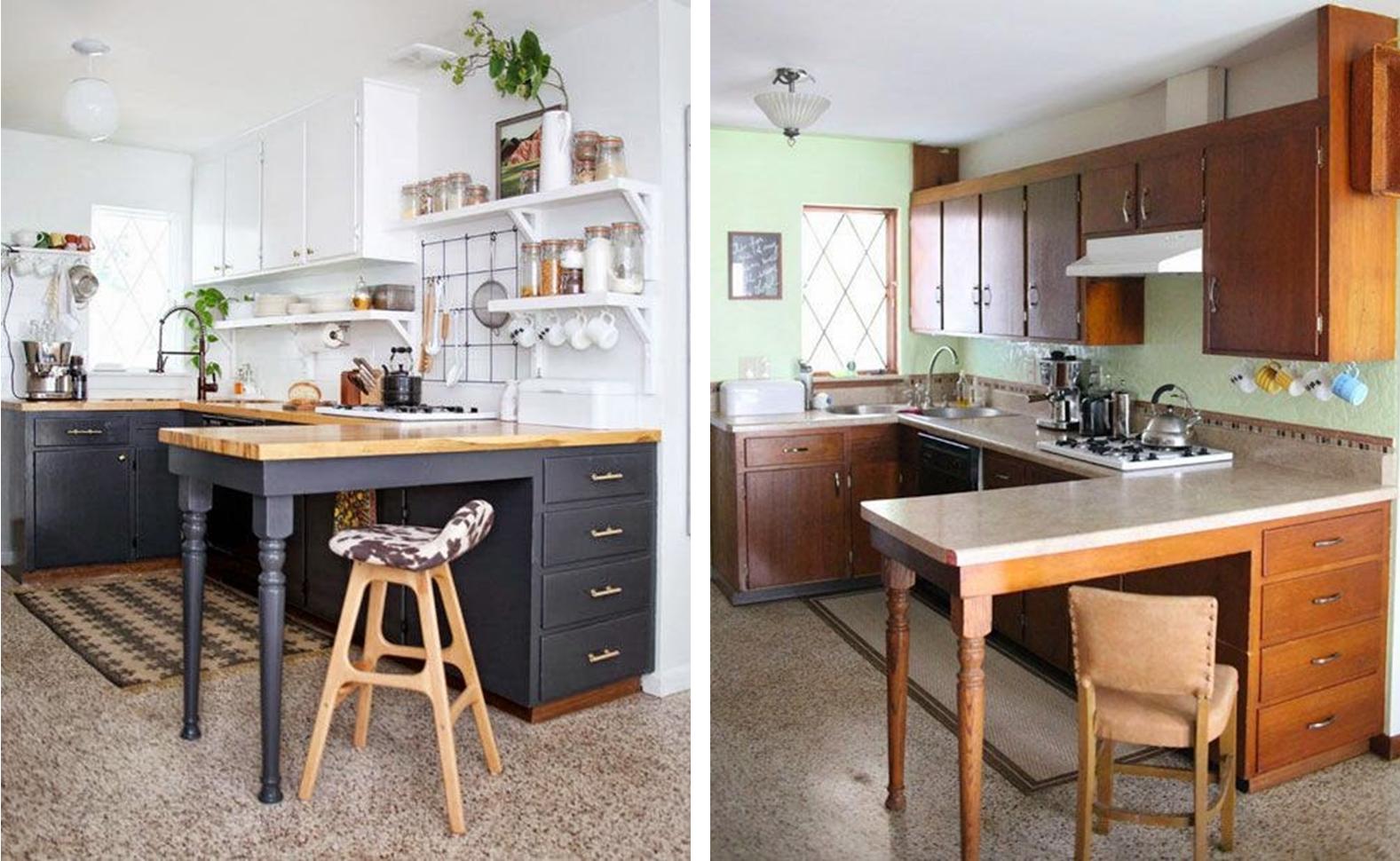 Decoraci n f cil antes y despues de una cocina sin obras for Cocinas de obra