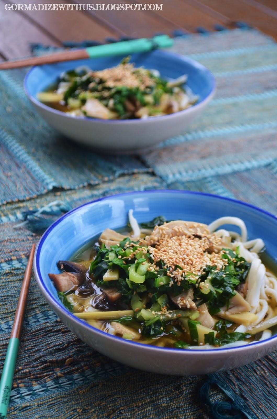 Gormandize: Spinach, Mushroom & Sesame Udon Noodle Soup