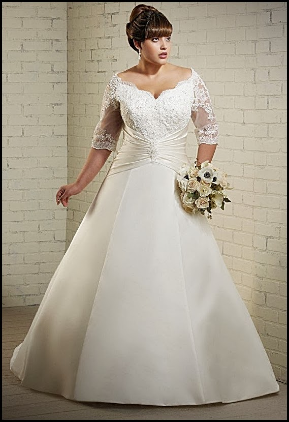 Plus size wedding dresses with sleeves wedding plan ideas for Off white plus size wedding dresses