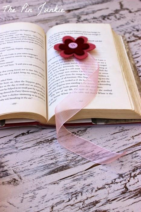 Ribbon and Felt Flower Bookmark