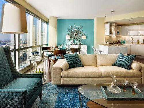 Scuba+blue+contemporary living room