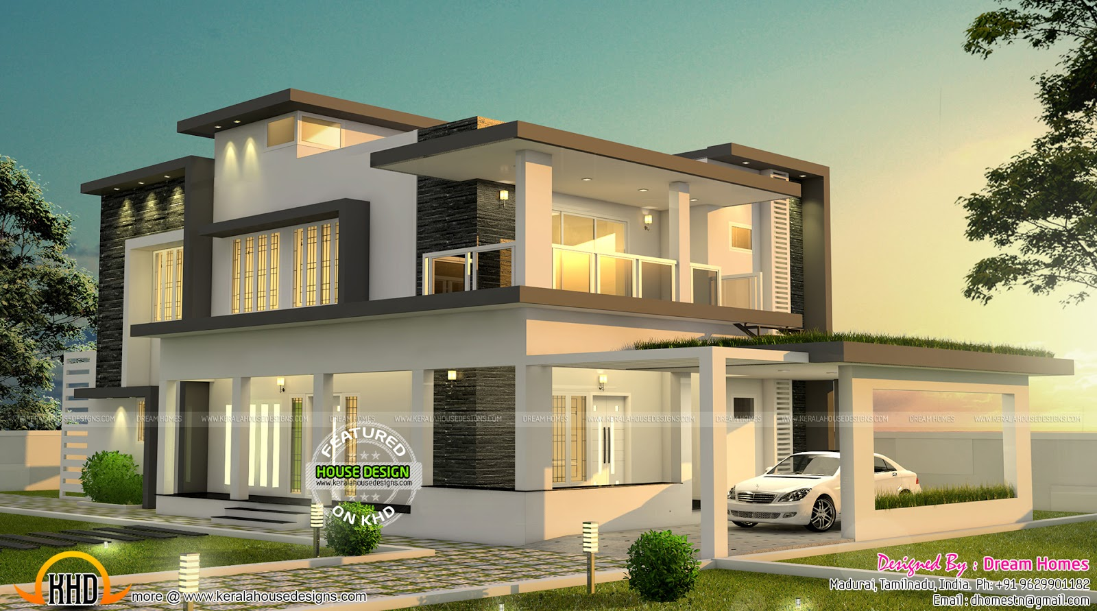 Beautiful modern house in tamilnadu kerala home design for Modern mansion designs