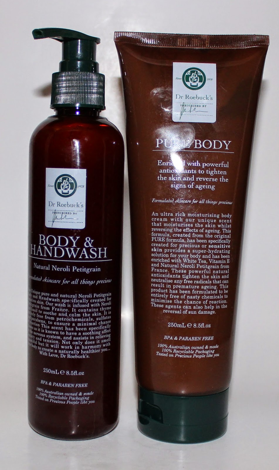Dr Roebucks Pure Body and Body & Handwash