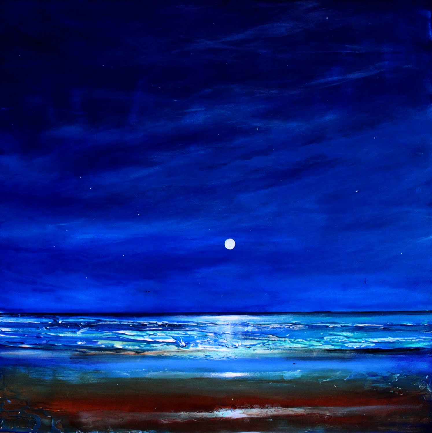 Check Out This Soothing Nighttime Beach Landscape Can You Feel The Soft Breeze Is An Original Acrylic On Wood Panel 20x20