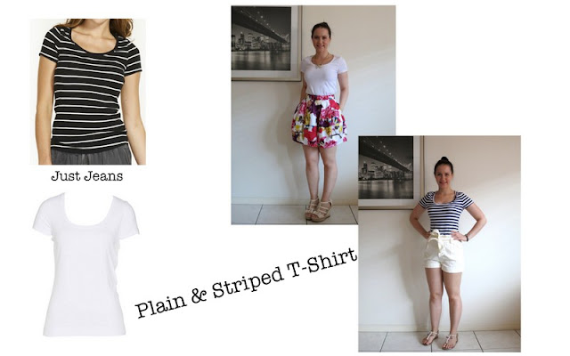 Plain and striped t-shirt